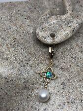 Vintage Fire Opal Pearl Earrings 925 Sterling Golden Silver Lever Backs