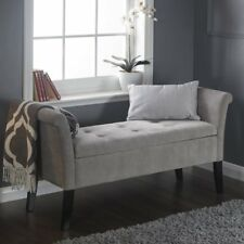 Shabby Chic Storage Seat Bench Furniture Bedroom Upholstered Ottoman Wooden Legs