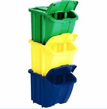 RECYCLING BINS 3 Container Pack Trash Compost Stackable with Lid 18 Gallon