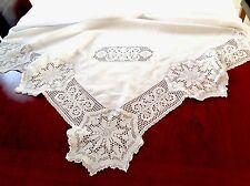 BELLISSIMO VINTAGE HAND Crochet LINO BIANCO FIOCCO DI NEVE PIZZO TOVAGLIA 67x67 pollici