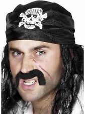 Adult Pirate Buccaneer Black Skull Crossbones Bandana Fancy Dress Accessory