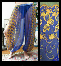 Harem Pants Belly Dance Blue w/ Gold Brocade Slit