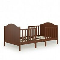 2-in-1 Classic Convertible Wooden Toddler Bed with 2 Side Guardrails for Extra