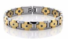 MEN'S NEW POLISHED TUNGSTEN DIAMOND BRACELET W/ SHINY GOLD  LINKS * TWO TONE *