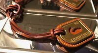 DOONEY & BOURKE BRASS 1975 DUCK LEATHER LOOP KEY FOB BAG CHARM KEYCHAIN HANG TAG