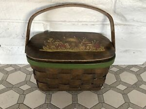 Vintage Wooden Basket- hinged lid w/ Mushroom Print on Top & Polka Dot Lining