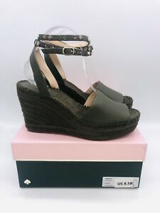 Kate Spade Women's Frenchy Espadrille Wedges Peat Moss Leather US 8.5B / EUR 39