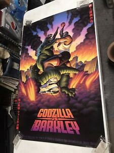NIKE Vintage 90s Charles Barkley Godzilla Poster 24x36 Air Force ShoesJW549