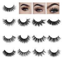 SK 100% Mink Hair Eye Lashes Natural Thick False Eyelashes 3D Fluffy Cross Long