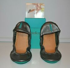 TIEKS Metallic Pewter Silver Shoes Size 8 Ballet Flats Leather By GAVRIELI