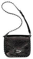 Valentino Garavani Noir Rockstud Shoulder Bag Crinkled Black Leather Black 2016
