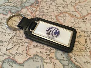 AC COBRA Quality Black Real Leather Key ring Fob OBLONG