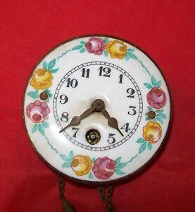 Antique Miniature Grandfather Clock Movement - Enamel & hands good, locked solid