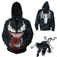 Men Venom Spiderman Men's Hoodie Sweater Jacket Zip Coat 3D Tops Cosplay Sweater