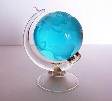 CZECH HANDMADE GLASS SPINNING GLOBE PAPERWEIGHT - AQUA