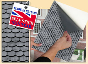 Self Adhesive Dolls House Wallpaper | Grey Scallop Roof Tiles | 1/12th Vinyl