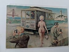"POSTCARD ""Double Exposure"" San Francisco North Beach Area Trolley RISQUE ! M-1"