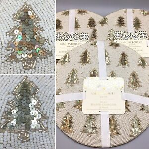 x6 Cynthia Rowley Beaded Sequins Gold Christmas Tree Placemat Set Holiday Glam
