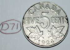 Canada 1924 5 Cents George V Canadian Nickel Lot #D71