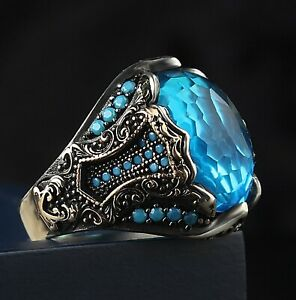 Excellent 925 Sterling Silver Turkish Handmade Jewelry Aquamarine Men's Ring