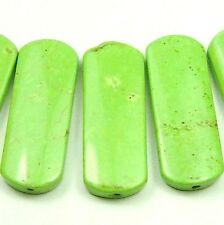 5 CUTE GREEN Turquoise Flat Oval Rectangle Beads 15x40mm K4958