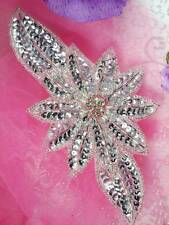 "Jb25 Silver Floral Rhinestone Beaded Sequin Applique 6.5"" 4000 Items In Stock ~"