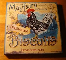 MAYFAIRE BISCUITS ROOSTER ADVERTISING Speckled Chicken Kitchen Sign Home Decor