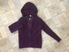 L.L. Bean Double L Mixed Cable Hoodie Sweater Sz M & Matching Tee Sz S in Plum