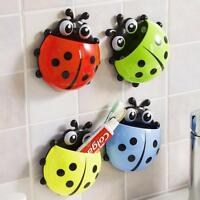 Cartoon Toothbrush Holder Ladybug Toothpaste Dispenser Kids Bathroom 4 Color