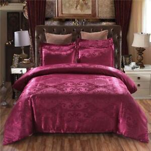 50 Bedding Set Queen King Size Duvet Cover Silk Bed Linens Quilt 2/3pcs