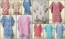 Lot Of 10  Pcs Hand Block Print Beach cover up Short Dress Kimono Kaftan Bikini