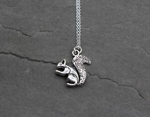 Eichhorn Eichhörnchen Halskette Kette Anhänger in Silber Niedlich Geschenk NEU