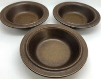 "ARABIA of Finland RUSKA Set of 3 Dark Brown 6-7/8"" Rimmed Cereal Bowls (RF971)"