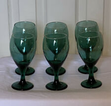 Set of 6 Vintage Green Glass with Gold Rim Wine Goblets 1970's Drinkware