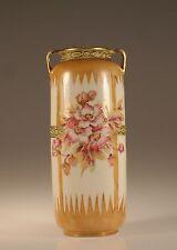 Nippon Hand painted Pink Roses Vase, Japan c. 1915
