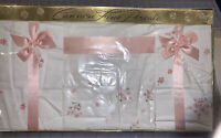 NIB Vintage Cannon Percale Sheet Set PINK WHISPER Forget-me-not