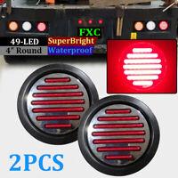 2pcs Round Rear Stop 49 LED Light Tail Brake Turn Signal Lamp Trailer Truck Van