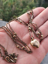 ANTIQUE, VICTORIAN FANCY CHAIN  NECKLACE & HEART PENDANT, 9CT ROLLED ROSE GOLD