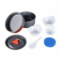 8pcs Backpacking Cooking Picnic Outdoor Brand New Set Pan Pot Bowl Cookware b49