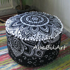 "22"" New Indian Pouf Ottoman Black Silver Printed Mandala Footstool Pouf Cover AU"