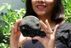Jet Yin Yang Orgone Round Selenite Tourmaline Plate 4 inch approx. Diameter Gift
