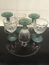 6 Vintage Avon Cordial Crystal Goblets With Green Stems