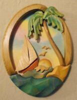 BARBARA SORENSON ART SCULPTURE SAIL BOAT PALM TREE WALL SHIELD 2004 SIGNED (B9)