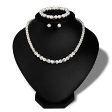 Luxury Pearl Jewelry Set For Women Wedding Choker Silver Necklace Bracelets Sets
