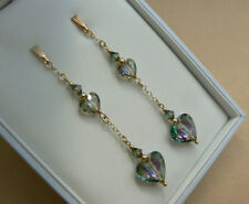 9ct Gold long chain earrings, Swarovski elements Paradise Shine heart crystals