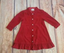 Next 2 Years Red Corduroy Long Sleeved Collared Dress