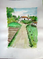 Acquerello '900 su carta Watercolor -Paesaggio di Campagna - (132)
