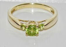 9ct Gold Peridot 3 Stone Trilogy Ring size N - Solid 9K Gold