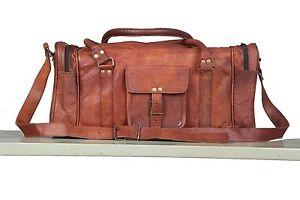 "Handmade 24"" Real Brown Leather Duffle Bag Sports Gym Bag Hold-All Luggage Bag"