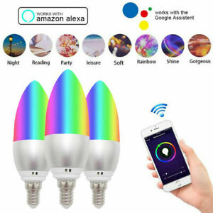 E14 Wifi Smart Life APP Remote Control Bulb LED Light Lamp for Alexa Google Home